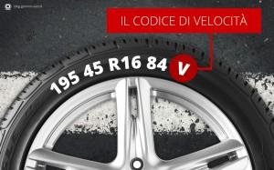 codice di velocità dei pneuatici
